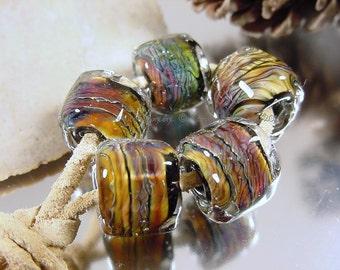 Handmade lampwork glass beads, Artisan glass beads, black beads, green beads, purple beads, blue beads, gold beads, barrel beads,  SRA
