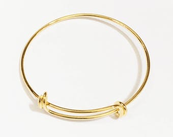 2 pcs Adjustable wire bangle, Gold plated brass bangle, bulk wire bangle 7 to 9 inch