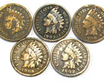 5 Indian Head Penny Coin Charms from Early 1900's