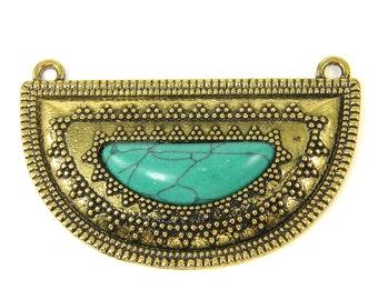 Turquoise Antique Gold Necklace Pendant Half Circle Tribal Granulated Oxidized Aqua Ethnic Jewelry Component |B7-14|1