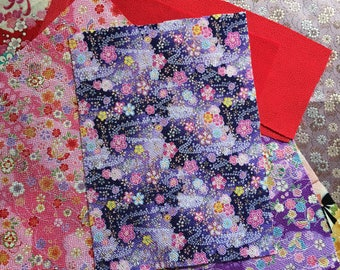 Japanese Chirimen, Kimono and Obi fabric set