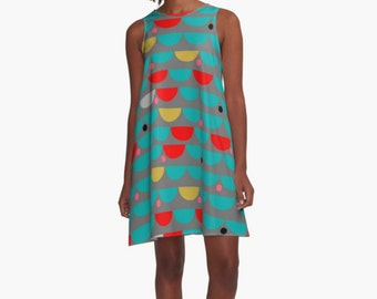 Woman Dress,  colorful dress, Modern Dress,  Drops Dress, A line Dress, Women dress, Dress, Girl Dress, summer dress, Gifts for her