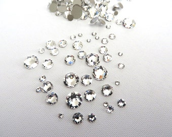 144 Clear Crystal Swarovski Flatback Rhinestones Mixed Sizes 5ss 7ss 10ss 12ss 16ss 20ss 30ss Nail Art