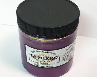 Lumiere Halo Violet Gold 557 - 8 oz Size - Brilliant Light Body Metallic Acrylic Paint - Art Craft Fabric Canvas Wood Paper Metal Effect