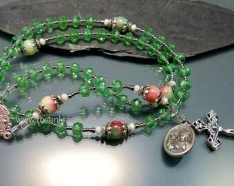 Rosary Saint Barbara Sacred Heart and Holy Family handmade catholic rosary beads  by Rosenkranz-Atelier  prayer beads catholic jewelry