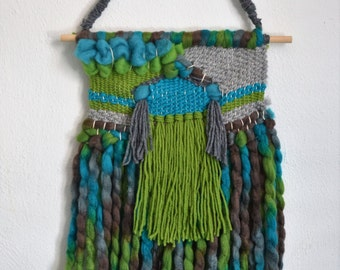 Turquoise Blue Green Gray Fringe Woven Wall Hanging Weaving