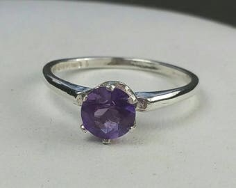 Purple Amethyst Ring , Sterling Silver Ring, US Size 6, February Birthstone Ring, Purple Ring by Maggie McMane Designs