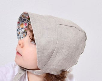 Liberty of London Reversible Baby Bonnet Linen