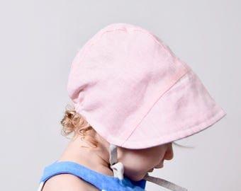 Reversible Baby Bonnet Sun Hat Toddler Blush Linen