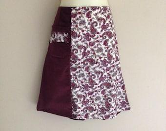 Velvety Paisley Skirt - Custom made to fit you, all sizes welcome, knee length skirt, vintage skirt, retro skirt, Paisley skirt, maroon, mod