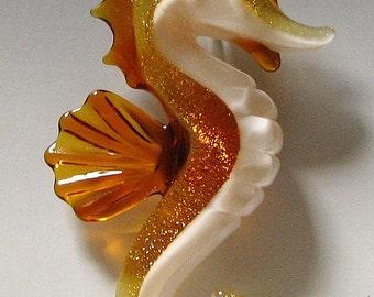 Sea Horse Pendant Glass Sea Horse Pendant Seahorse Necklace Seahorse Jewelry Lampwork Focal Bead Tom Heath Sanctuary Glass FREE SHIPPING