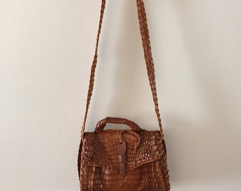 Vintage Alligator Purse Small shoulder bag tourist goods 1970s