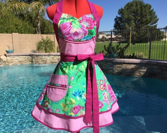 Ready to Ship - Floral Delight Sassy Apron with Petticoat, Womens Misses Pin Up, Southern Belle, Kitchen Floral Delight Apron
