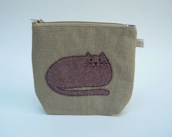 Tweedy Kitty linen make-up bag, cosmetics pouch, knitting notions bag