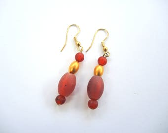 NEW Amber glass and goldtone earrings- beaded dangles in rich orange- OOAK ready to ship with free gift bag!