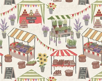 Booths and Stands Small Town Farmers Market Fabric by Lewis and Irene