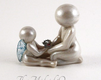 I Have A Sibling In Heaven - angel brother or sister sculpture - clay child memorial keepsake- made to order in any wing color