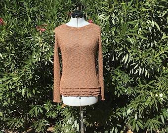Mori Girl Grunge Burning Man Inside Out Brown Pullover Sweater Sz S