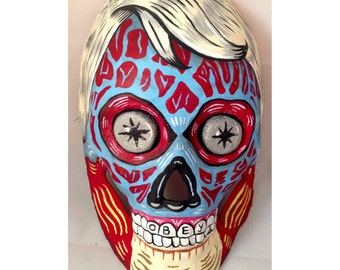 They Live Obey Alien Hand-Painted Mask One-of-a-kind Art piece by Liz Carroll