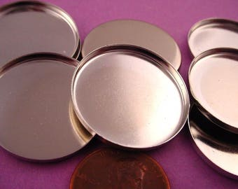 8 Silver tone Round Bezel Cups 25mm High Wall