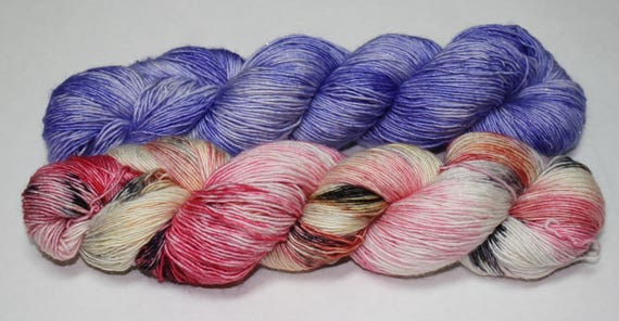 Dyed to Order - Zombie Romance and Periwinkle Hand Dyed Yarn Shawl Set