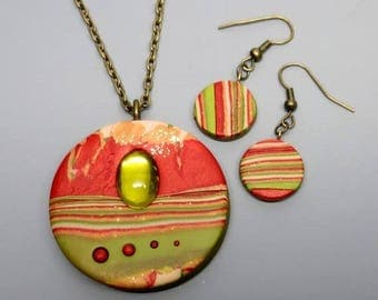 HALF OFF SALE Polymer Clay Pendant and Earrings, Mokume Gane, Olive and Persimmon, Handmade, Ooak, Vintage Glass Cabochon