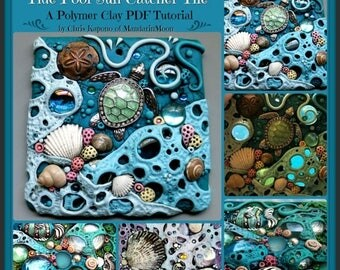 HALF OFF SALE Tide Pool Sun Catcher Tile,  A Polymer Clay Pdf Tutorial, Mosaic Tile