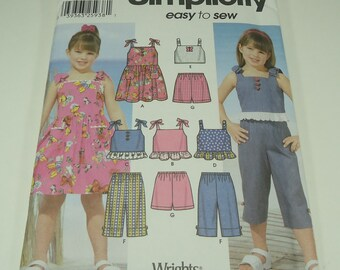 Simplicity Child's Dress, Top, Cropped Pants, And Shorts Pattern 5984 Size 2, 3, 4, 5, 6, 6x