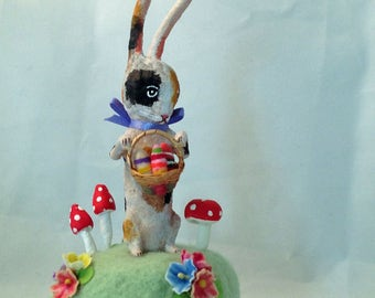 Spun cotton spotted hare with egg basket and mushrooms figure by Maria Paula
