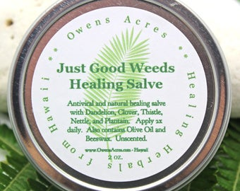 Just Good Weeds Herbal Salve - Herbal Salve, Natural Salve, Antiseptic Salve, Skin Salve, Insect Bites, Rashes, Cuts, Scrapes, Skin Salve