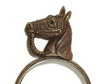 Horse Equestrian Magnifying Glass dark antiqued gold tone RARE