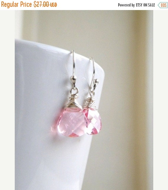 Black Friday Sale Swarovski Crystal Earrings Pale Pink  Wire Wrapped Sterling BE12
