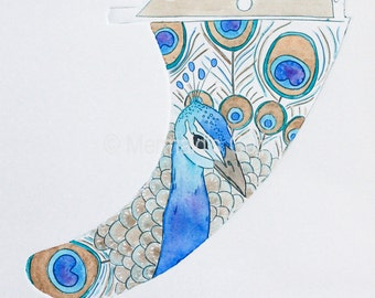 Boho Surf Art - Peacock Surfboard longboard fin - Original drypoint collagraph print & watercolour, art nouveau, Australia