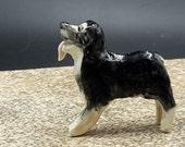 tiny australian shepherd - black tricolor -  porcelain sculpture