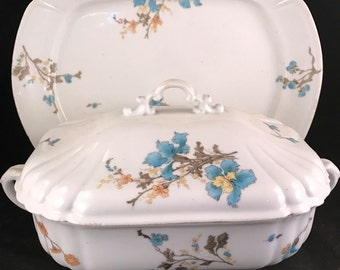 Antique Ironstone Covered Vegetable Bowl and Matching Platter Blue Floral