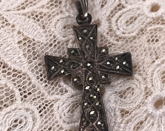 Vintage 1980's Era Marcasite/Sterling 625 Cross Pendant