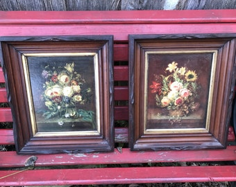 Pair of Vintage Shadow Box Wood Framed Flower Pictures