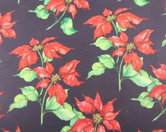 Vintage Black Christmas Wrapping Paper or Gift Wrap with Red Poinsettias