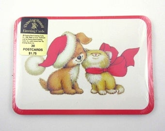 Vintage Unused Drawing Board Cat and Dog Christmas Post Cards Postcards Unopened Set of 20