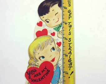 Vintage Valentine Greeting Card with Little Blonde Girl and Cute Boy and Ruler Silver Embossing