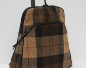 BACKPACK Waxed Flannel and Leather Pleasing PLAID