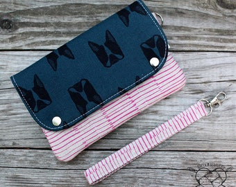Wallet Wristlet Clutch LARGE Frenchies Ready To Ship