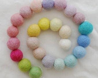 100% Wool Felt Balls - 3cm - 25 Count - Assorted Light, Pale & Pastel Colors