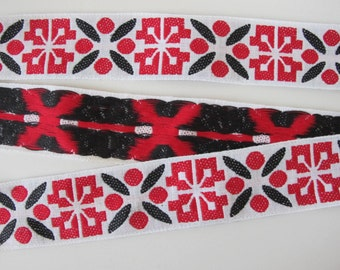 2 yards ICELANDIC Jacquard trim in black, red on white. 1 7/8 inch wide. 2044-C