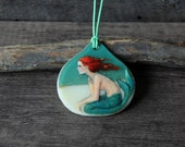 Beautiful Mermaid at the beach - fused glass pendant - mermaid nekclace - boho gypsy jewelry