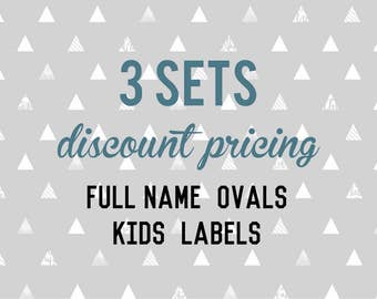 Full Name OVAL Kids Labels - 3 sets of 30 qty - Waterproof for Kids