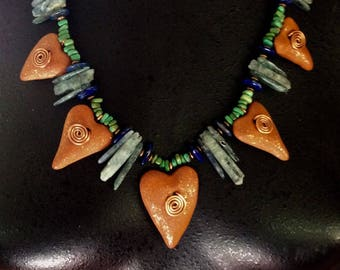 Throat & Third Eye Medicine Necklace with Mica Clay Hearts, Copper Spirals, Kyanite, Turquoise, Lapis Lazuli and Amazonite