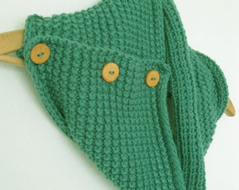 Buttoned Infinity Scarf - Handmade