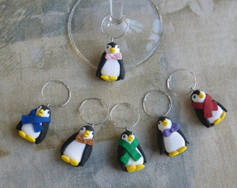 Penguin Polymer Clay Wine Charms