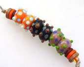 Handmade Lampwork Glass Beads - 3 pairs. Bumpy dots on tangerine, cocoa & taupe. Stacked dots, raised dots, earring pairs.
